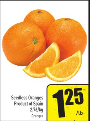 Seedless Oranges Product of Spain 2.76/kg