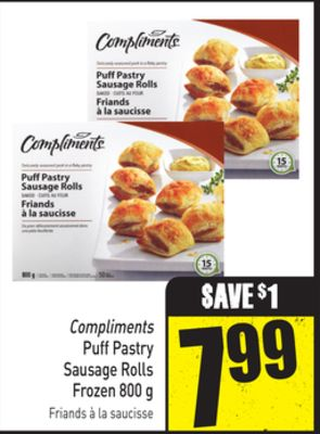 Compliments Puff Pastry Sausage Rolls Frozen 800 g