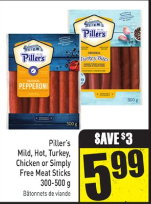 Piller's Mild - Hot - Turkey - Chicken or Simply Free Meat Sticks 300-500 g