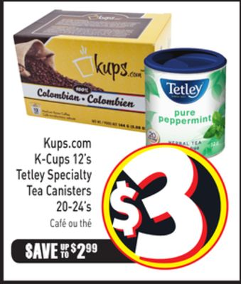 K-cups 12's Tetley Specialty Tea Canisters 20-24's