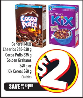 General Mills Cheerios 260-330 g Cocoa Puffs 335 g Golden Grahams 340 g