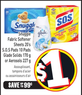Snuggle Fabric Softener Sheets 20's S.o.s Pads 10 Pads Glade Solids 170 g or Aerosols 227 g