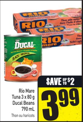 Rio Mare Tuna 3 X 80 g Ducal Beans 790 mL