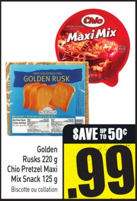 Golden Rusks 220 g Chio Pretzel Maxi Mix Snack 125 g