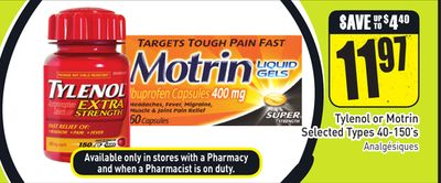 Tylenol or Motrin Selected Types 40-150's