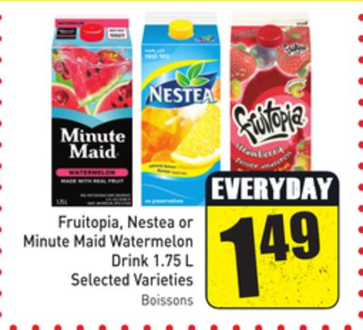 Fruitopia - Nestea or Minute Maid Watermelon Drink 1.75 L Selected Varieties