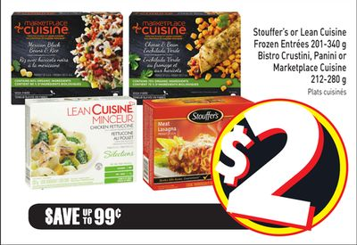 Stouffer's or Lean Cuisine Frozen Entrées 201-340 g Bistro Crustini - Panini or Marketplace Cuisine 212-280 g