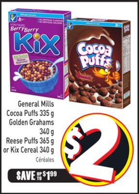 General Mills Cocoa Puffs 335 g Golden Grahams 340 g Reese Puffs 365 g or Kix Cereal 340 g