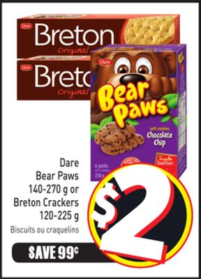 Dare Bear Paws 140-270 g or Breton Crackers 120-225 g