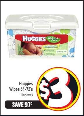 Huggies Wipes 64-72's