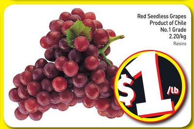 Red Seedless Grapes Product of Chile No.1 Grade 2.20/kg