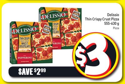 Delissio Thin Crispy Crust Pizza 555-630 g