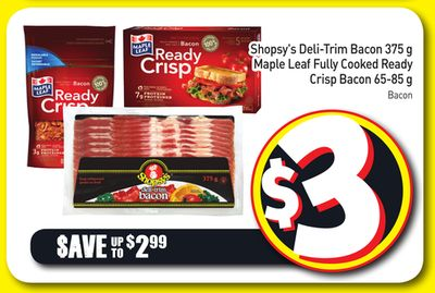Shopsy's Deli-trim Bacon 375 g Maple Leaf Fully Cooked Ready Crisp Bacon 65-85 g
