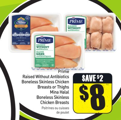 Prime Raised Without Antibiotics Boneless Skinless Chicken Breasts or Thighs Mina Halal Boneless Skinless Chicken Breasts