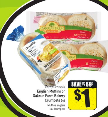Compliments English Muffins or Oakrun Farm Bakery Crumpets 6's