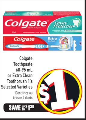 Colgate Toothpaste 60-95 mL or Extra Clean Toothbrush 1's