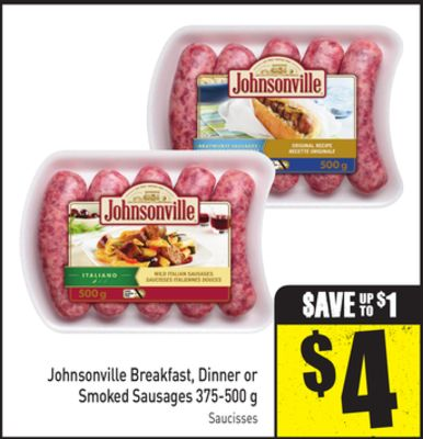 Johnsonville Breakfast - Dinner or Smoked Sausages 375-500 g