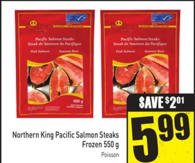 Northern King Pacific Salmon Steaks Frozen 550 g