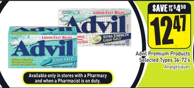 Advil Premium Products Selected Types 36-72's