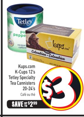 Kups.com K-cups 12's Tetley Specialty Tea Cannisters 20-24's