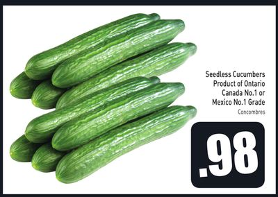 Seedless Cucumbers Product of Ontario Canada No.1 or Mexico No.1 Grade