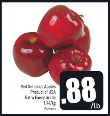 Red Delicious Apples Product of USA Extra Fancy Grade 1.94/kg