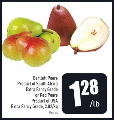 Bartlett Pears Product of South Africa Extra Fancy Grade or Red Pears Product of USA Extra Fancy Grade - 2.82/kg