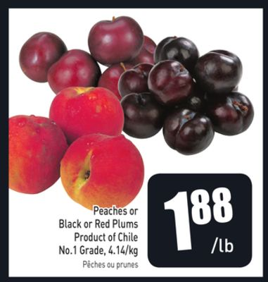 Peaches or Black or Red Plums Product of Chile No.1 Grade - 4.14/kg