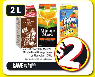 Sealtest Chocolate Milk 2 L Minute Maid Orange Juice or Five Alive 1.75 L