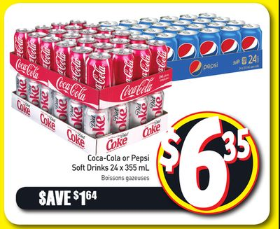 Coca-cola or Pepsi Soft Drinks 24 X 355 mL