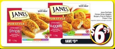 Janes Pub Style Chicken Strips - Nuggets - Burgers - Fries or Popcorn Frozen 1.2 Kg