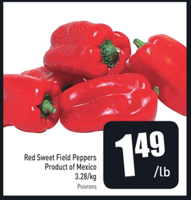 Red Sweet Field Peppers Product of Mexico 3.28/kg