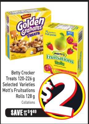 Betty Crocker Treats 120-226 g Selected Varieties Mott's Fruitsations Rolls 128 g