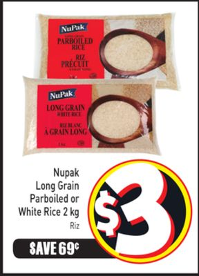 Nupak Long Grain Parboiled or White Rice 2 Kg