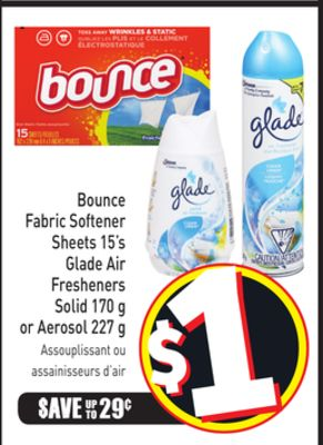 Bounce Fabric Softener Sheets 15's Glade Air Fresheners Solid 170 g or Aerosol 227 g