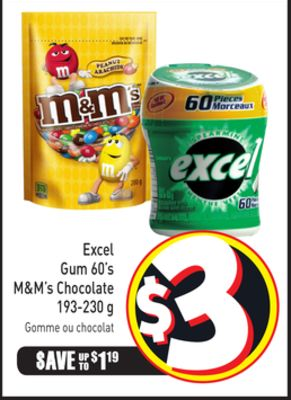 Excel Gum 60's M&m's Chocolate 193-230 g