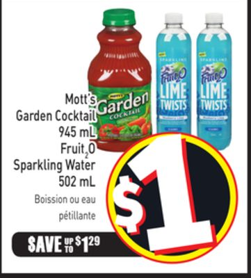 Mott's Garden Cocktail 945 mL Fruit2o Sparkling Water 502 mL
