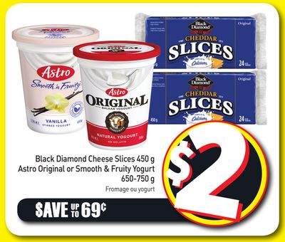 Black Diamond Cheese Slices 450 g - Astro Original or Smooth & Fruity Yogurt 650-750 g