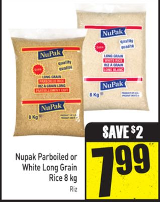 Nupak Parboiled or White Long Grain Rice 8 Kg