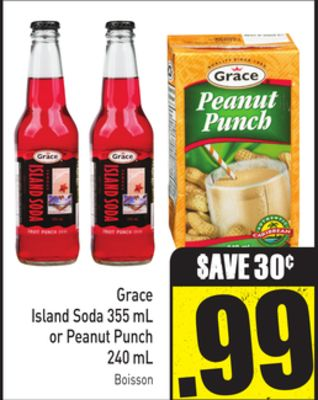 Grace Island Soda 355 mL or Peanut Punch 240 mL