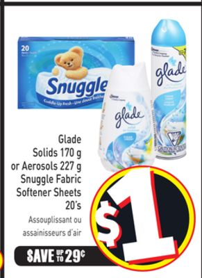 Glade Solids 170 g or Aerosols 227 g Snuggle Fabric Softener Sheets 20's
