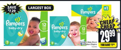 Pampers Baby-dry or Swaddlers Diapers
