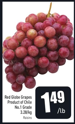 Red Globe Grapes Product of Chile 3.28/kg No.1 Grade
