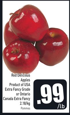 Red Delicious Apples Product of USA Extra Fancy Grade or Ontario Canada Extra Fancy 2.18/kg