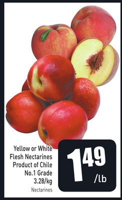 Yellow or White Flesh Nectarines Product of Chile 3.28/kg