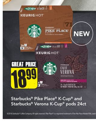 Starbucks Pike Place K-cup and Starbucks Verona K-cup Pods 24ct