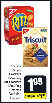 Christie Snack Crackers 175-454 g Ritz Crackers 180-200 g