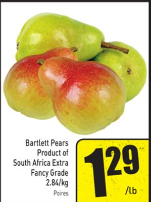 Bartlett Pears Product of South Africa Extra Fancy Grade 2.84/kg