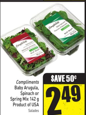 Compliments Baby Arugula - Spinach or Spring Mix 142 g