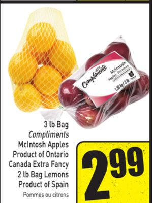 3 Lb Bag Compliments Mcintosh Apples Product of Ontario Canada Extra Fancy 2 Lb Bag Lemons Product of Spain